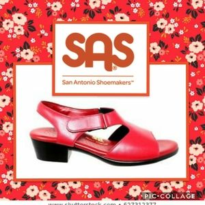 🌻$38🌻 SAS Suntimer Red Leather Sandals Size 9.5